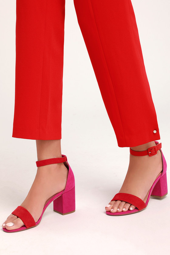 f8361cc464d Jody Orange and Hot Pink Suede Ankle Strap Heels
