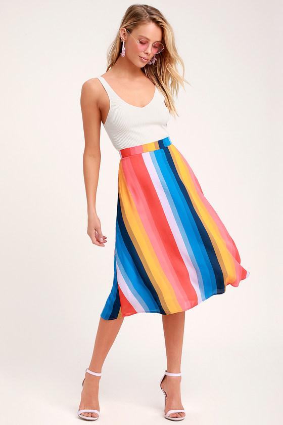 15167ea108fb46 Rainbow Stripe Skirt - Multi Striped Skirt - Striped Midi Skirt