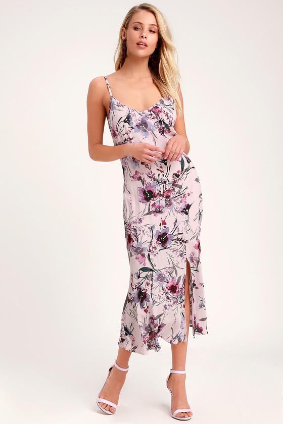 072670c7a2db Cute Lavender Dress - Purple Midi Dress - Floral Print Dress