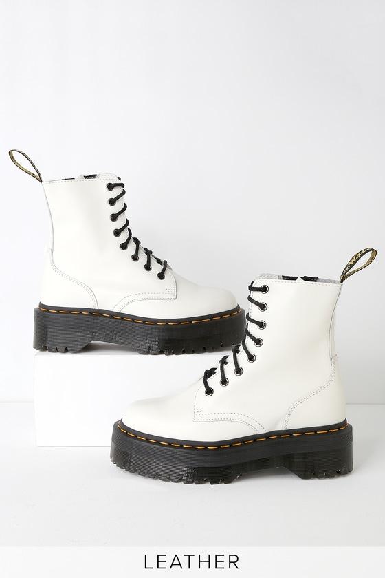 1a5f02ca368ce Dr. Martens Jadon - White Leather 8-Eye Platform Boot