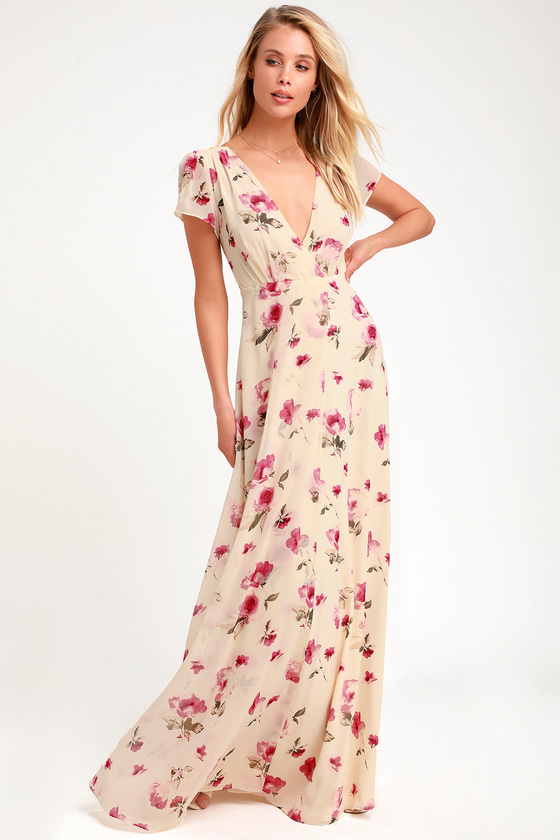 Gift of Love Cream Floral Print Short Sleeve Maxi Dress - Lulus