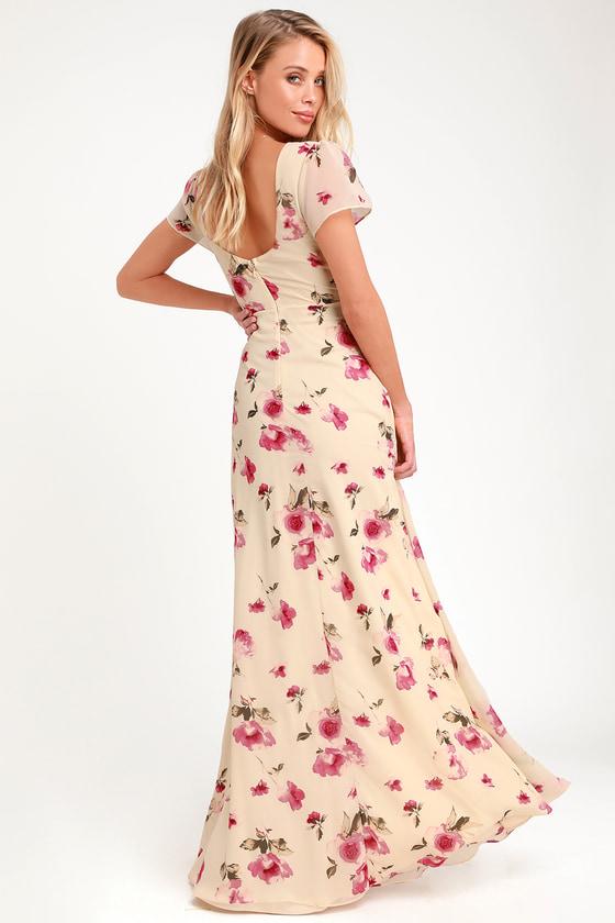 d73f10024e3e16 Lovely Cream Floral Print Dress - Maxi Dress - Short Sleeve Dress