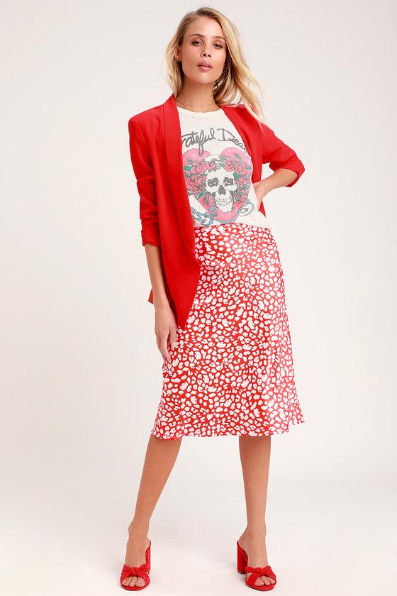 800d4ef69d5 Sleek Red Skirt - Satin Midi Skirt - Print Skirt