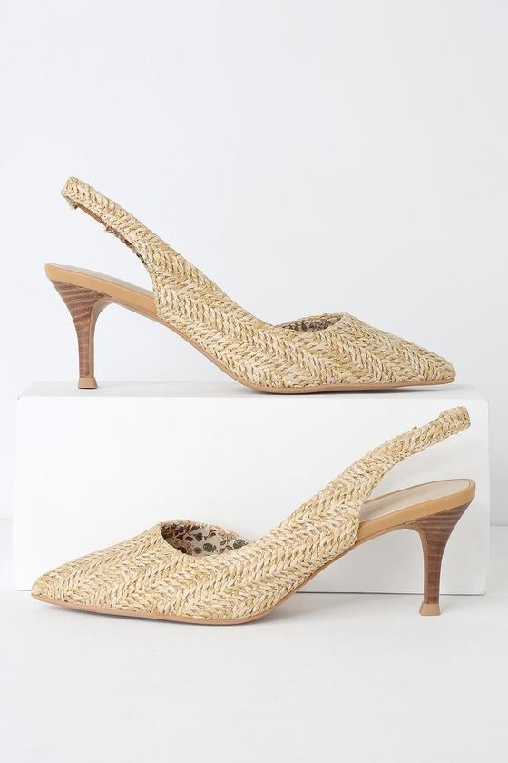 78295f6f5a1 Seychelles Ornament - Natural Raffia Heels - Slingback Pumps