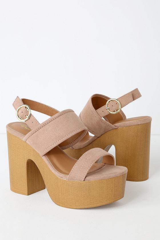 3fa14308d978a Cute Platform Heels - High Heel Sandals - Vegan Suede Sandals