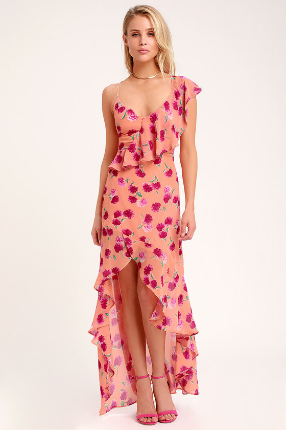 Bloom Forever Coral Orange Floral Print Ruffled High-Low Dress - Lulus