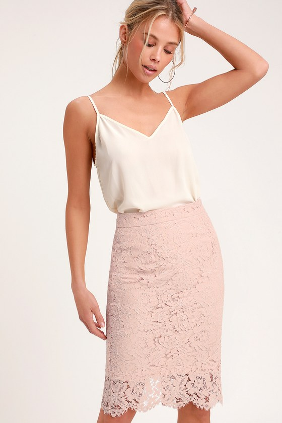 d4ed676d1b Chic Blush Skirt - Blush Lace Skirt - Blush Lace Pencil Skirt