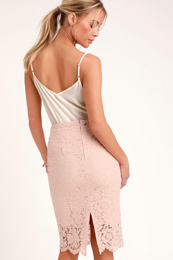 017733957 Chic Blush Skirt - Blush Lace Skirt - Blush Lace Pencil Skirt