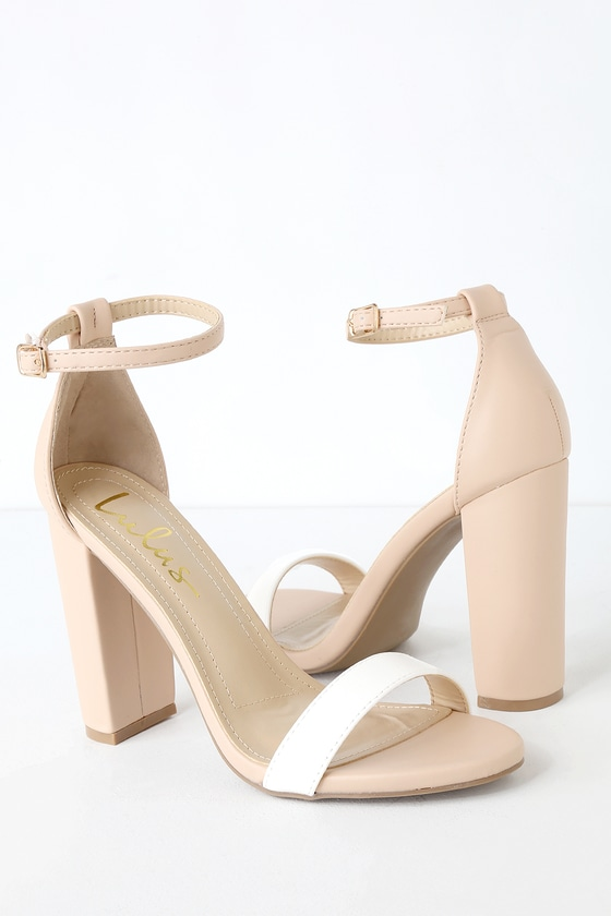 6d9d887f515e Cute Nude and White Heels - Ankle Strap Heels - Color Block Heels