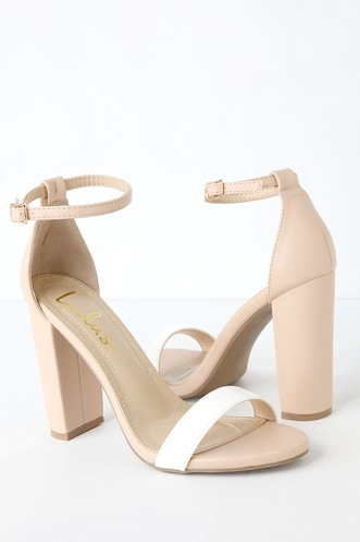 fced3a4472a Taylor Nude and White Color Block Ankle Strap Heels