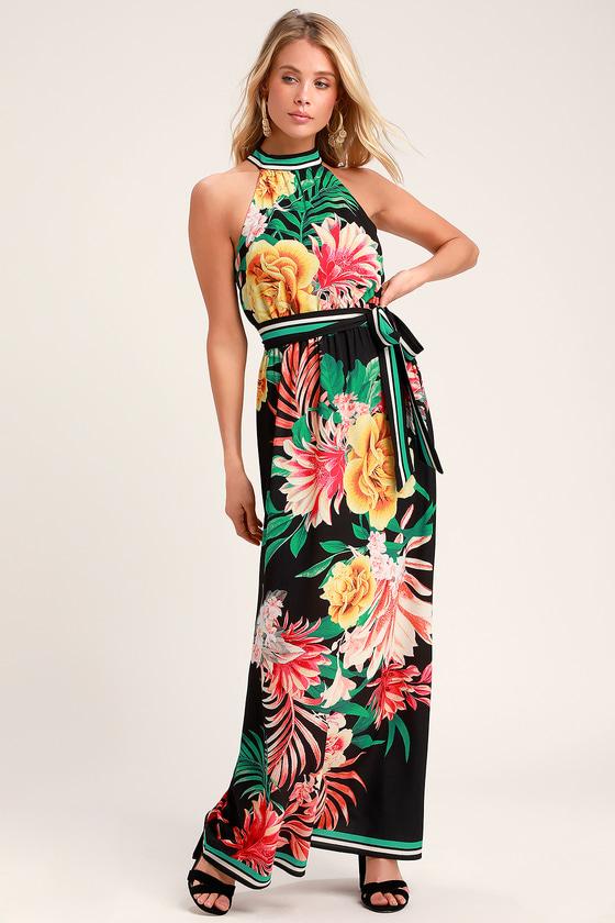46f2b5fca9c Tropic of Conversation Black Tropical Print Halter Maxi Dress