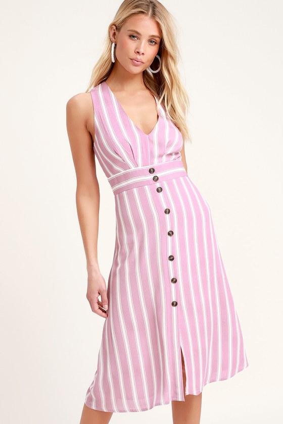cd8d9bb0975 Jacqui Lavender and White Striped Button Front Midi Dress