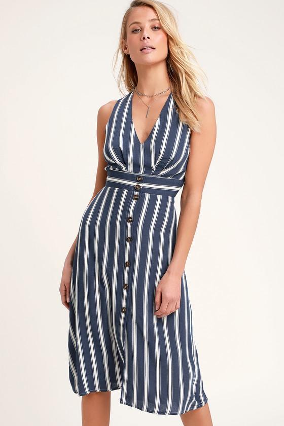 5f9f234cee696 Cute Striped Dress - Blue Striped Dress - Midi Dress