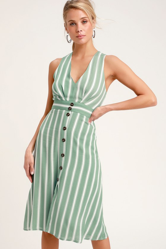 690b7dd3f3 Cute Striped Dress - Sage Green Striped Dress - Midi Dress