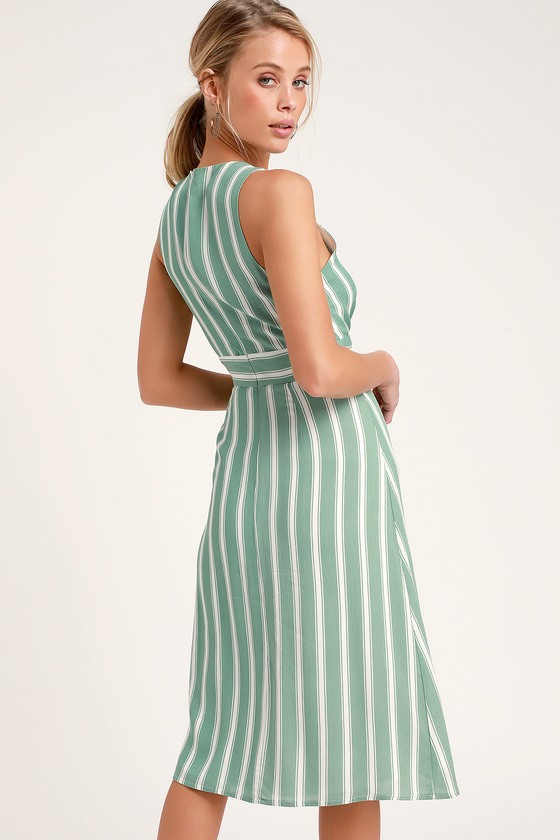 416c2b72fba6 Jacqui Sage Green and White Striped Button Front Midi Dress