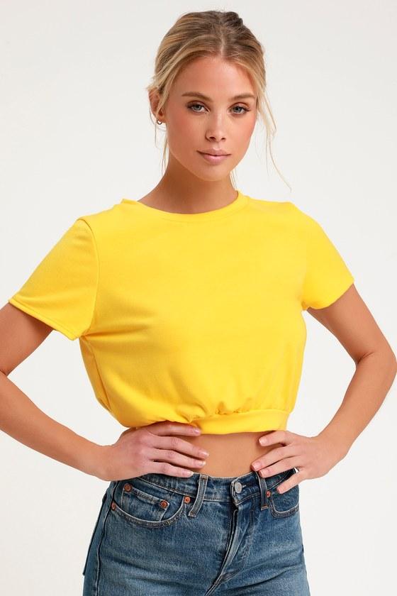 c68f5d207f Cute Golden Yellow T-Shirt - Cropped T-Shirt - Basic Tee