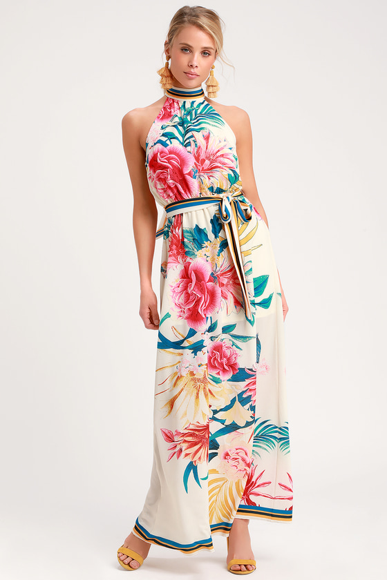 02896edd033 Lovely Cream Tropical Print Dress - Halter Dress - Maxi Dress