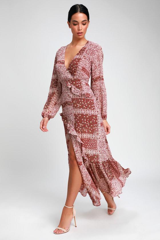 a374d1b4853 Cute Rust Red Dress - Paisley Maxi Dress - Long Sleeve Dress