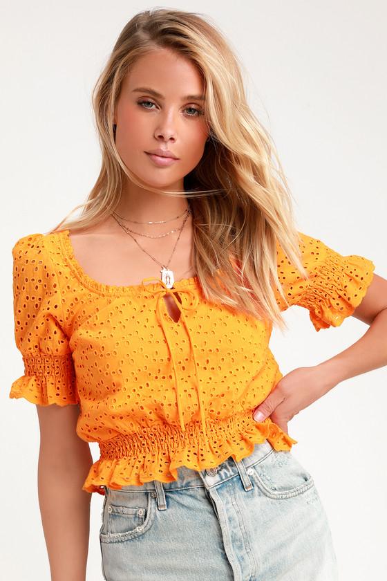 Women's 70s Shirts, Blouses, Hippie Tops Sweet Sunshine Orange Eyelet Lace Crop Top - Lulus $26.00 AT vintagedancer.com