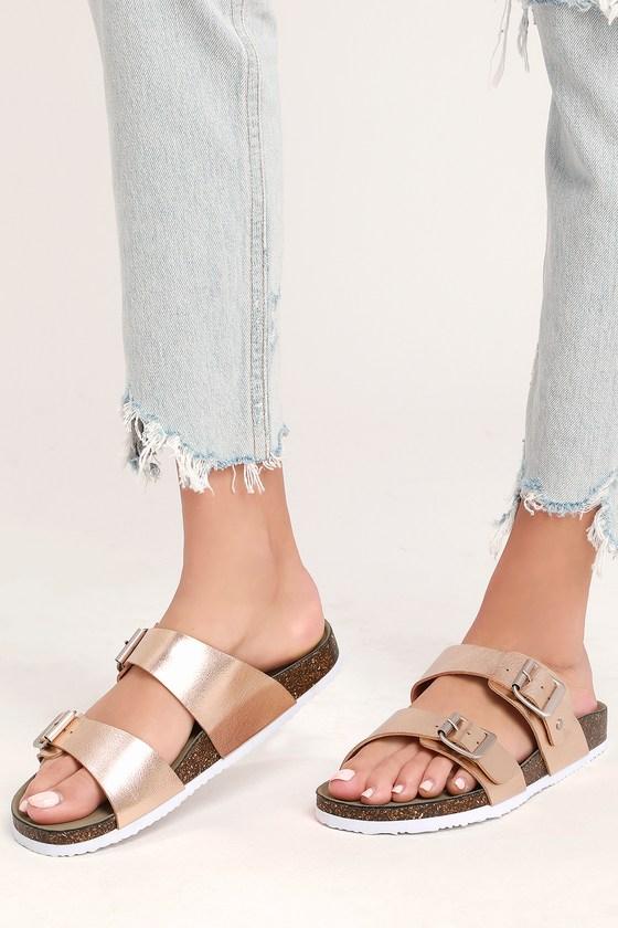 cc7f9df4b33b Madden Girl Brando - Rose Gold and White Buckled Slide Sandals
