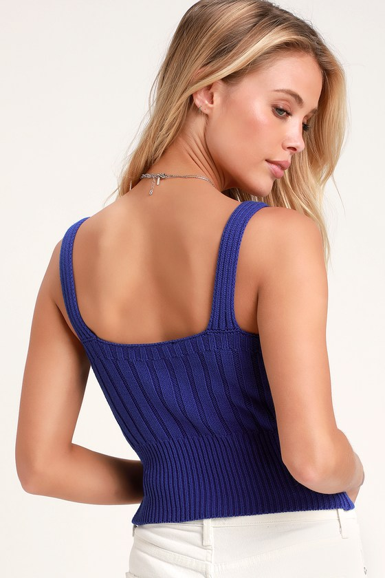 b5ee9344c1310 Cute Cobalt Blue Top - Cable Knit Tank Top - Sweater Tank Top