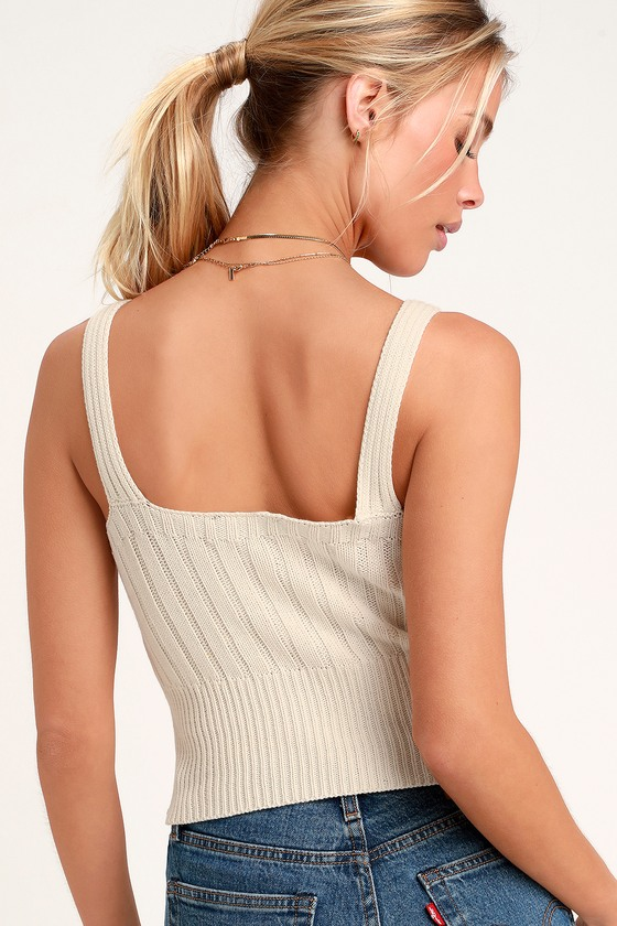 eb0e0af5bf6b6 Cute Cream Tank Top - Cable Knit Tank Top - Sweater Tank Top