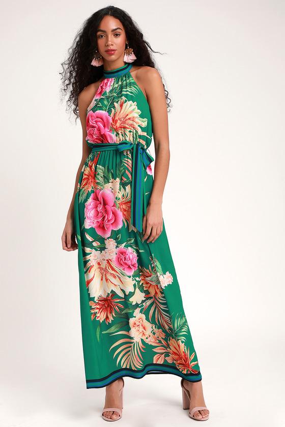 2757429149 Lovely Green Tropical Print Dress - Halter Dress - Maxi Dress