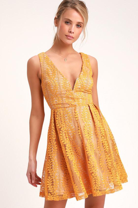 5027b3215ae Mustard Yellow Dress - Skater Dress - Lace Dress - Party Dress