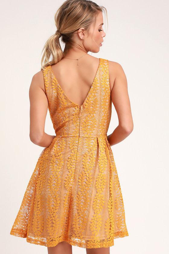 eba8e4881b Mustard Yellow Dress - Skater Dress - Lace Dress - Party Dress