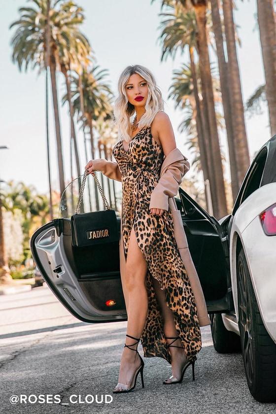 d9ba5ad6d3c8 Sexy Midi Dress - Leopard Print Dress - Faux Wrap Dress