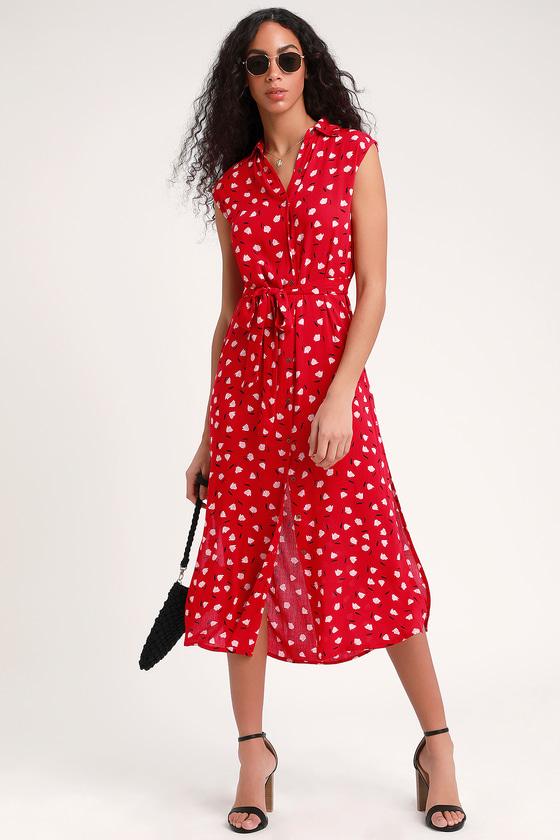 67569e53e0 Billabong Little Flirt - Red Print Dress - Button Down Midi Dress