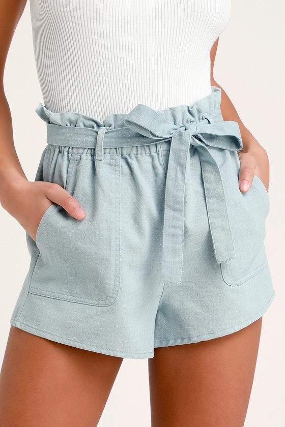 Harper Blue Chambray Paper Bag Waist Shorts - Lulus