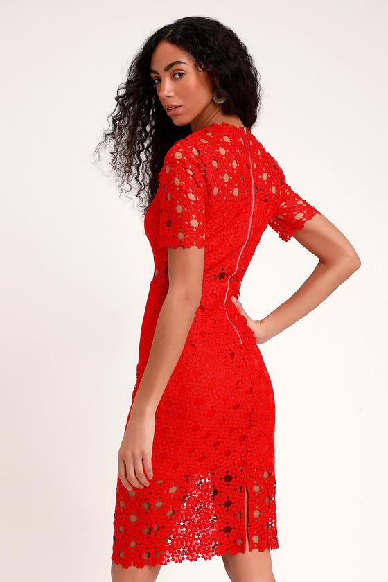 69acd6f3b90a Sexy Red Lace Dress - Lace Bodycon Dress - Red Midi Dress