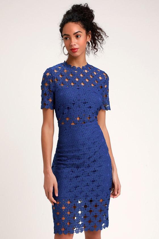 c0b97e7df7fb Sexy Royal Blue Lace Dress - Lace Bodycon Dress - Midi Dress