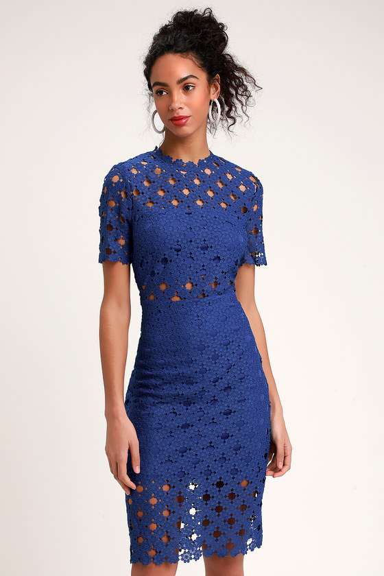 dd411a23977 Sexy Royal Blue Lace Dress - Lace Bodycon Dress - Midi Dress