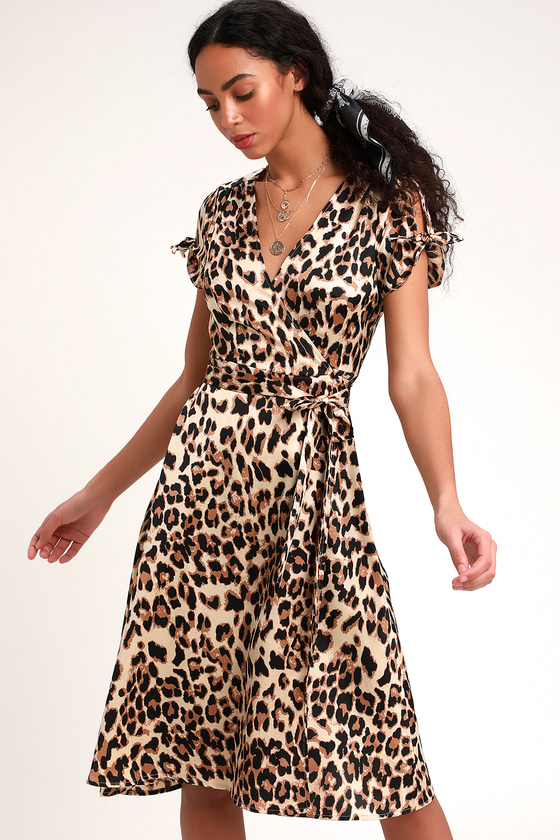 0c47013de99 Lovely Taupe Leopard Print Dress - Print Dress - Wrap Dress