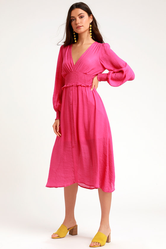 Bright Pink Dress - Midi Dress - Casual Dress - Long Sleeve Dress f71a3e799