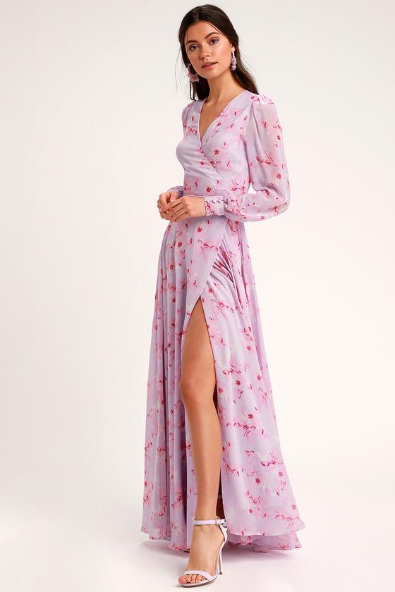 07fb6f29802c Glam Lavender Floral Dress - Wrap Maxi Dress - Long Sleeve Dress