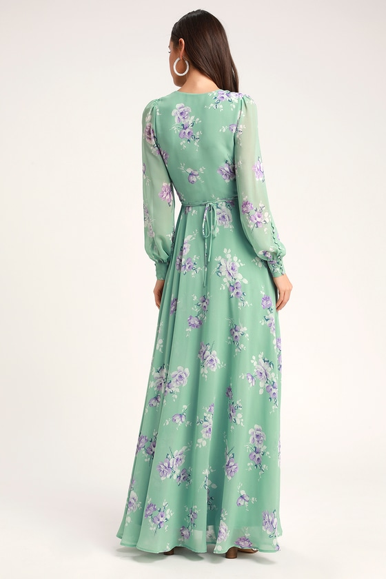 627a97d41a5a My Whole Heart Sage Green Floral Print Long Sleeve Wrap Dress