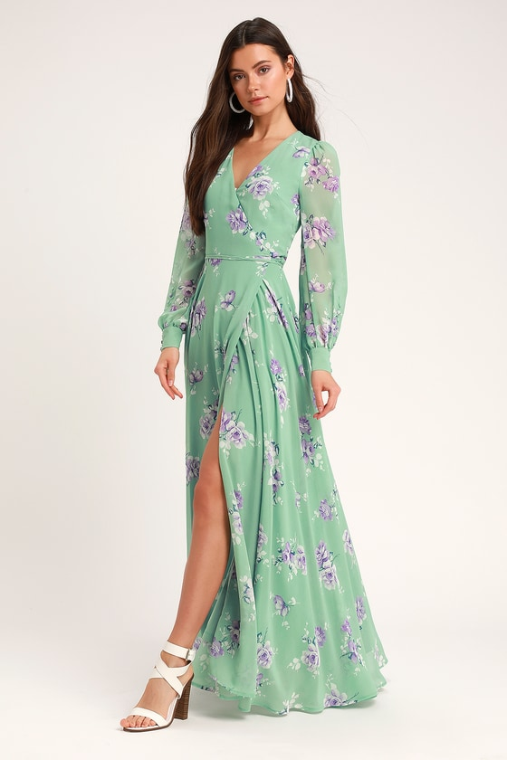 bf288c3b1907 Glam Sage Green Floral Dress - Wrap Dress - Long Sleeve Dress