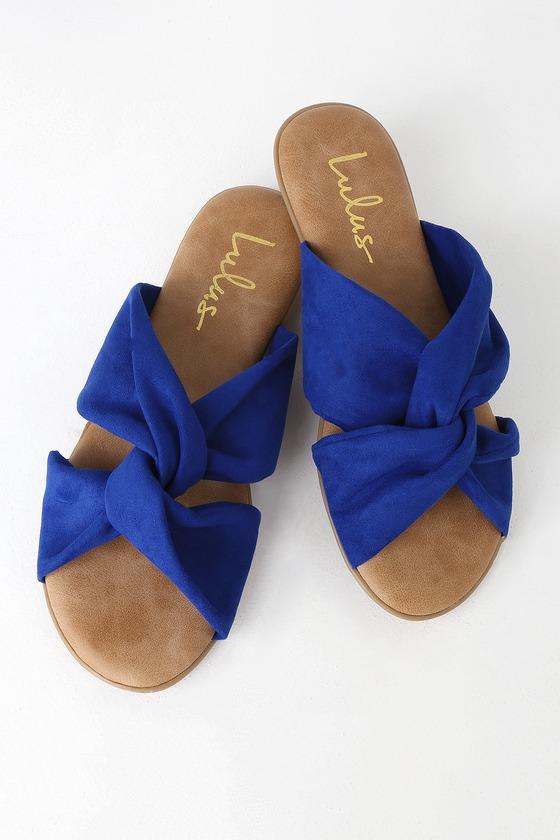 8b35660de1749a Cute Blue Sandals - Vegan Leather Sandals - Slide Sandals