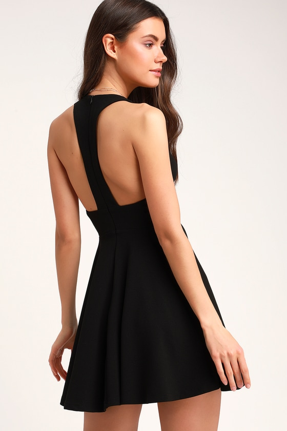 d7b1f5fcf41 Cute Black Dress - Skater Dress - Racerback Dress - LBD