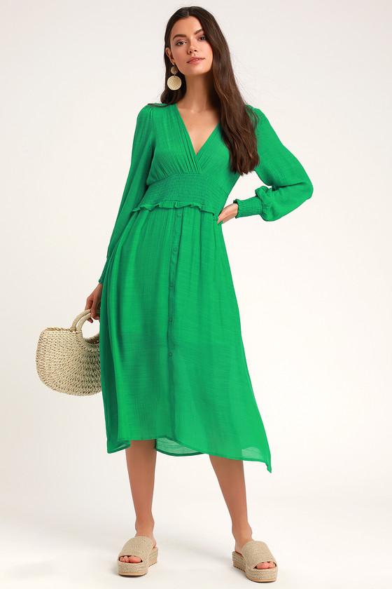 7536bca0 Chic Green Dress - Midi Dress - Casual Dress - Long Sleeve Dress
