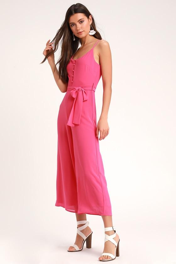 eca2f4df02 Cute Pink Jumpsuit - Culotte Jumpsuit - Midi Jumpsuit