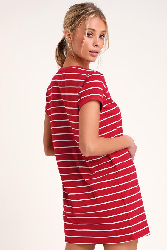 d9359c9ba1388 Chic Red Striped Dress - T-Shirt Dress - Shift Dress