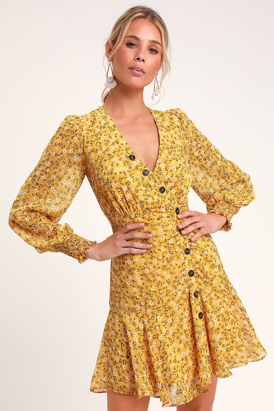 DIANELLA CASUAL YELLOW FLORAL PRINT LONG SLEEVE DRESS