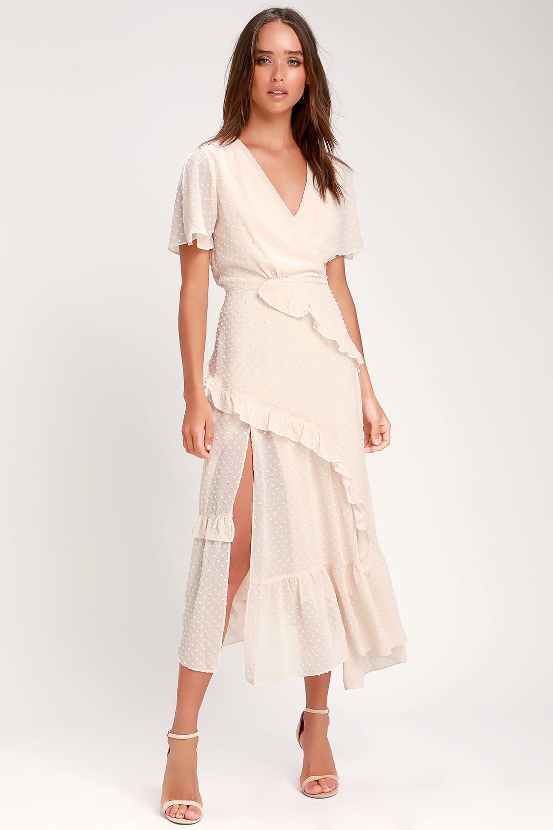 Next to You Cream Swiss Dot Ruffled Midi Dress