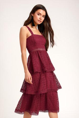 dfd2024cca Outstanding Burgundy Crochet Lace Ruffled Midi Dress