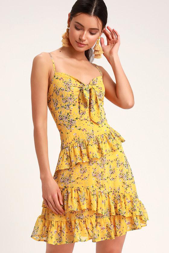 59ba4079717 Cute Yellow Dress - Yellow Floral Dress - Yellow Chiffon Dress