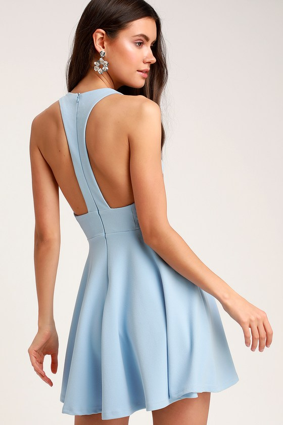 16aa65a2463 Cute Light Blue Dress - Skater Dress - Racerback Dress